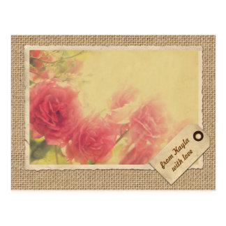 Pink Roses Sunlit Afternoon Vintage Frame Burlap Postcard