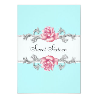 Pink Roses Teal Blue Sweet Sixteen Birthday Party 5x7 Paper Invitation Card