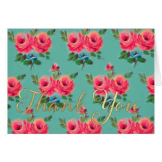 "Pink roses ""thank you"" notecard"