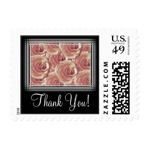 Pink Roses Thank You Stamp