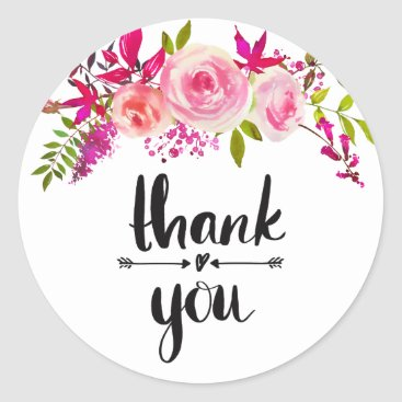 Professional Business Pink roses thank you sticker