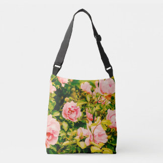Pink roses, tote bag with your own text
