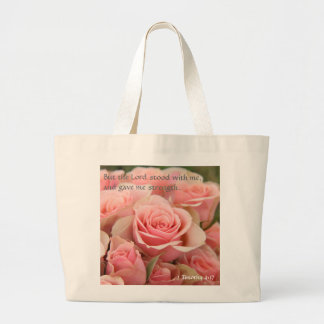 Pink Roses Tote w Bible Verse about God's Strength
