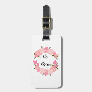 Pink Roses, Tulips, Flowers Wreath, Bridal Luggage Tag