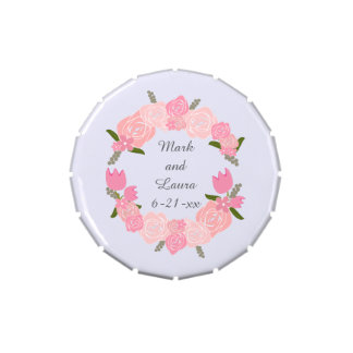 Pink Roses, Tulips, Flowers Wreath Wedding Favors Candy Tin