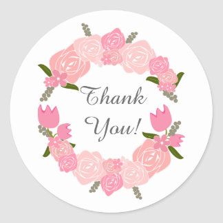 Pink Roses, Tulips, Flowers Wreath Wedding Favors Classic Round Sticker