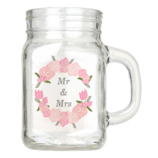 Pink Roses, Tulips, Flowers Wreath Wedding Favors Mason Jar