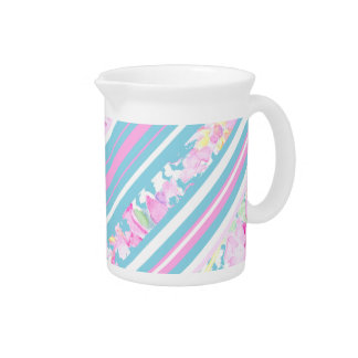 Pink Roses, Turquoise Pink White Stripes Pitcher