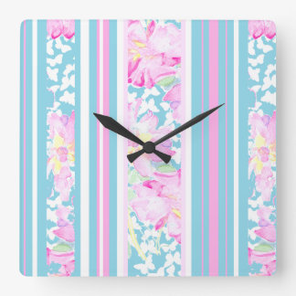 Pink Roses, Turquoise Stripes: Square Wall Clock