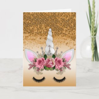 Pink Roses Unicorn and Gold Glitter Card