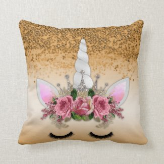 Pink Roses Unicorn and Gold Glitter Throw Pillow