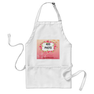 Pink Roses Valentine Add Your Photo Adult Apron