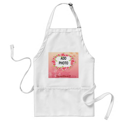 Pink Roses Valentine Add Your Photo Apron
