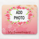 Pink Roses Valentine Add Your Photo Mousepads