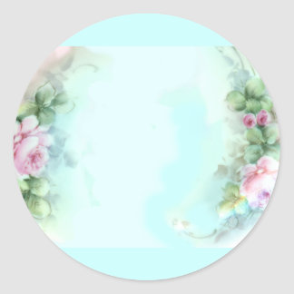 Pink Roses Victorian Style Design Stickers Tags