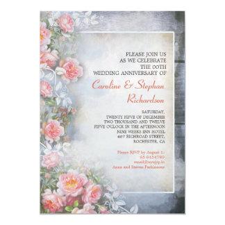 pink roses vintage anniversary invitations