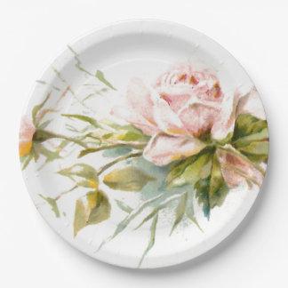 Pink Roses Vintage Bouquet Paper Plate