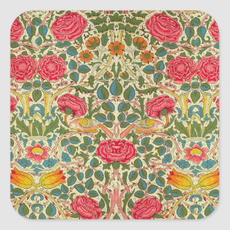 Pink Roses Vintage Chintz Pattern Square Sticker