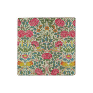 Pink Roses Vintage Chintz Pattern Stone Magnet