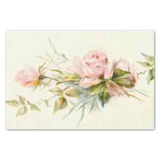 "Pink Roses Vintage 10"" X 15"" Tissue Paper"