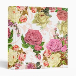 Pink roses vintage floral pattern 3 ring binder