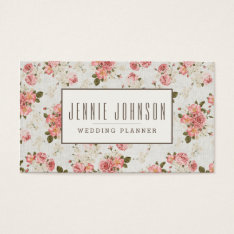 Pink Roses Vintage Floral Pattern Business Card at Zazzle