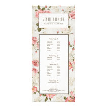 Pink Roses Vintage Floral Pattern Business Rack Card