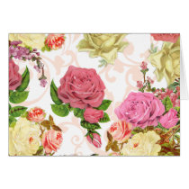 Pink roses vintage floral pattern card