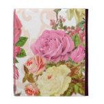 Pink roses vintage floral pattern iPad cases