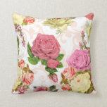 Pink roses vintage floral pattern pillow