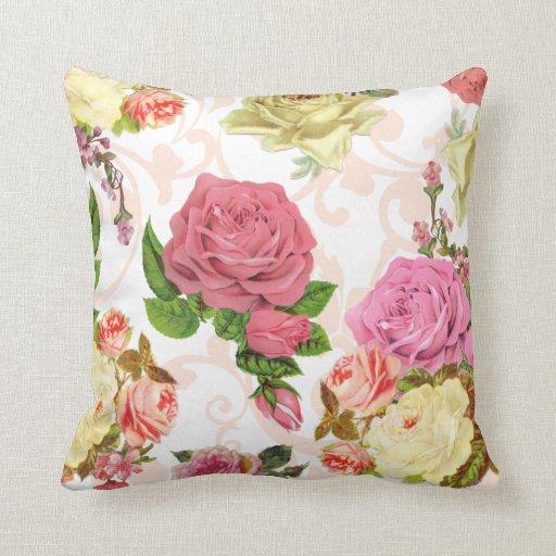 Pink roses vintage floral pattern pillow Zazzle