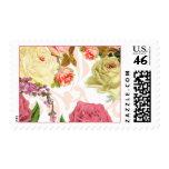 Pink roses vintage floral pattern postage stamp