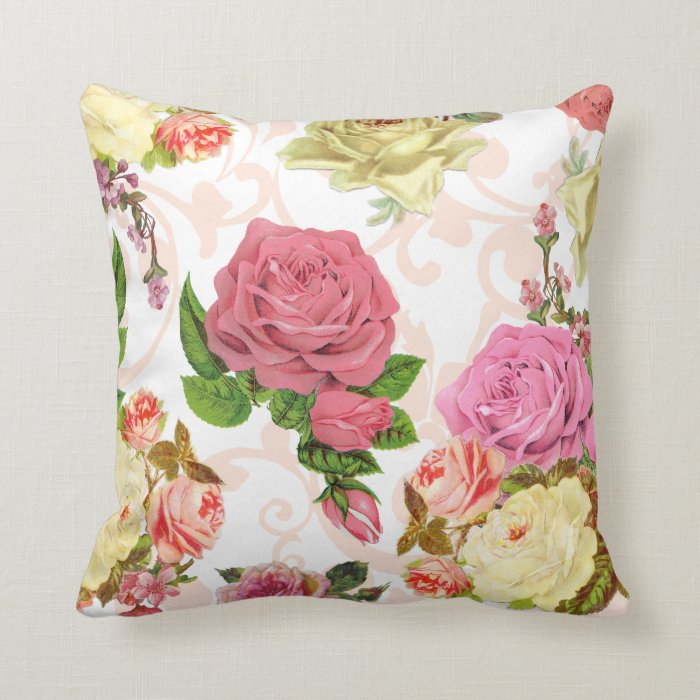 Pink Floral Decorative Pillows : Pink roses vintage floral pattern throw pillow Zazzle