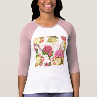 Pink roses vintage floral pattern tshirts
