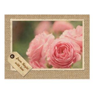 Pink Roses Vintage Paper Frame Travel Tag Burlap Postcards