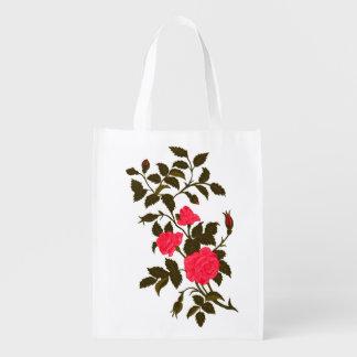 Pink Roses Vintage Rambling Rose Image Grocery Bag