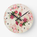 Pink Roses Wall Clock