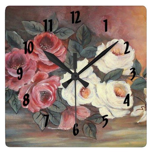 pink roses wall clocks