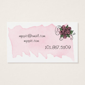Pink Roses Watercolor Business Card