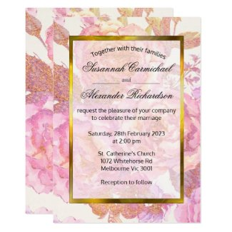 Pink Roses Watercolor Floral Wedding Invitation