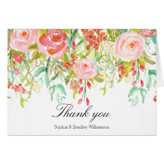 Pink Roses Watercolor Thank you Card