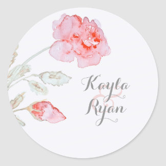 Pink Roses Watercolor Wedding Classic Round Sticker