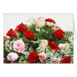 Pink Roses Wedding Bouquet Card