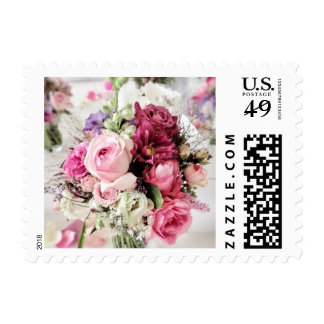 Pink Roses Wedding Bouquet Postage Stamp