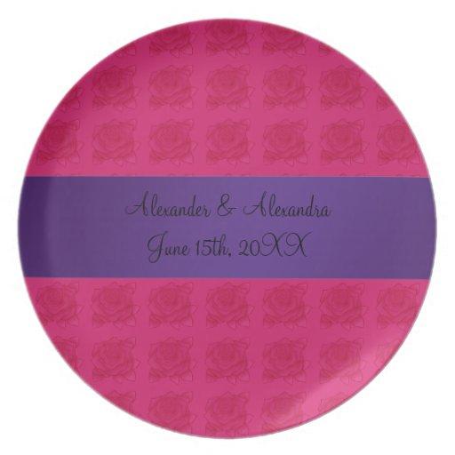 Pink roses wedding favors dinner plates