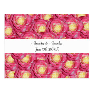 Pink roses wedding favors post card