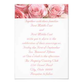 Pink Roses Wedding Invitations
