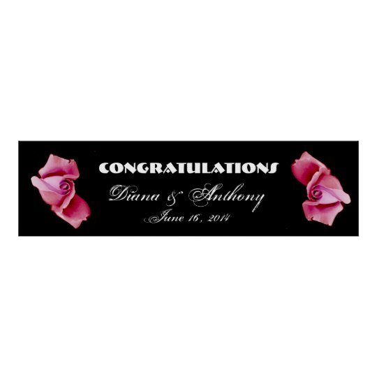 Pink Roses Wedding or Engagement Banner Poster