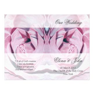 Pink Roses Wedding Program Stationery