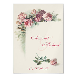 Pink Roses wedding RSVP 4.5x6.25 Paper Invitation Card
